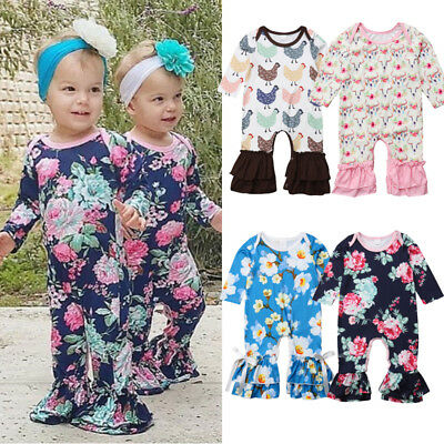 Cotton Newborn Baby Girl Flower Ruffle Romper Bodysuit Jumpsuit Outfits Clothes