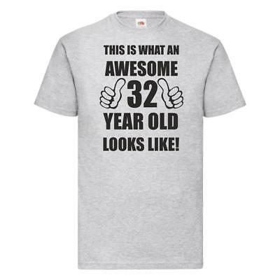 32nd 32 Years Old Thirty Second Birthday Present Funny Womens Heather T-Shirt