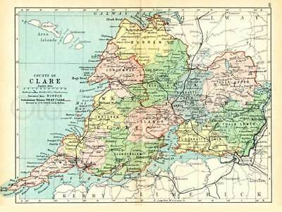 County Clare 1897 Antique Irish Map of Clare - PRINT 8x10 ins - FREE P&P UK
