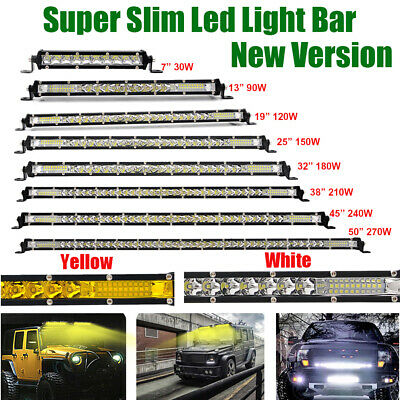 7/13/20/25/32/38/45/50 inch Single Row Slim LED Work Light Bar Car Offroad Truck