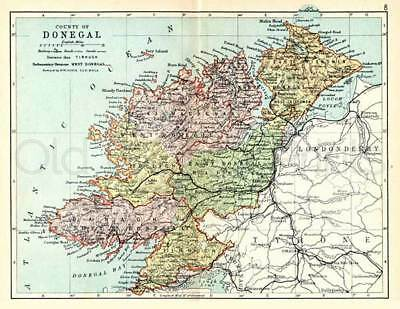 County Donegal 1897 Antique Irish Map of Donegal - PRINT 8x10 ins - FREE P&P UK