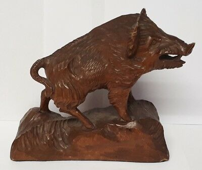 Vintage Black Forest Wooden Carved Boar / Pig.