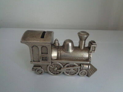 Vintage Silverplated Metal Train Piggy Bank Made In Hong Kong