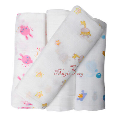 Baby Muslin Swaddle Square Blanket Soft Large 100% Cotton Nursery Wrap 120x120cm