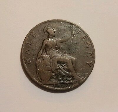 Dated : 1900 - Half Penny - 1/2d Coin - Queen Victoria - Great Britain