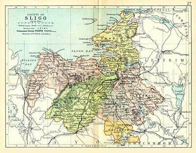County Sligo. 1897 Antique Irish Map of Sligo - PRINT 8x10 ins - FREE P&P UK