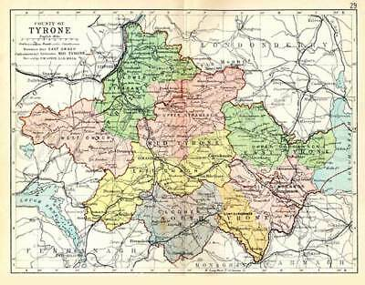 County Tyrone 1897 Antique Irish Map of Tyrone - PRINT 8x10 ins - FREE P&P UK