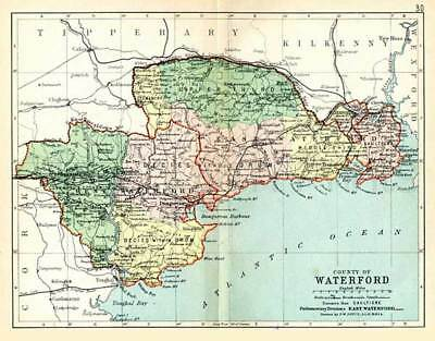 County Waterford 1897 Antique Irish Map of Waterford - PRINT 8x10 - FREE P&P UK