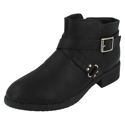 Girls H5R034 Black Zip Up Ankle Boots By Spot On £14.99