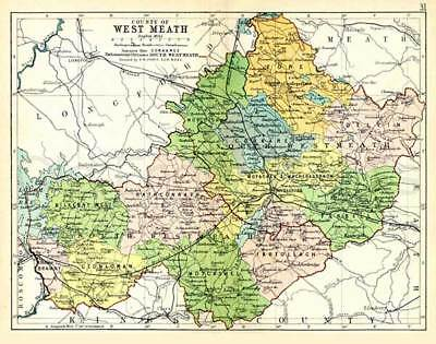 County West Meath 1897 Antique Irish Map of Westmeath - PRINT 8x10 - FREE P&P UK