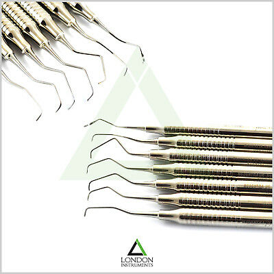 Set Of 7 Dental Periodontal Gracey Curettes Hollow Handle Calculus Removal Tool