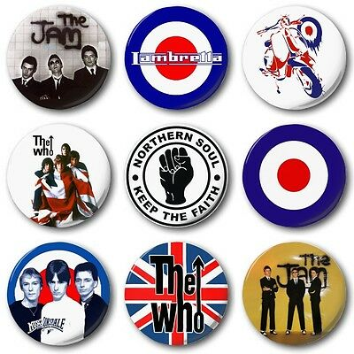 "MOD BADGES (Selection) - 1"" / 25mm Button Badge - Jam Who Weller Choice of  9"