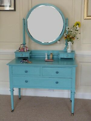 Vintage upcycled Solid wood dressing table painted blue