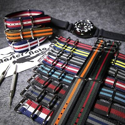 Heavy Duty NATO Watch Strap Quality Military Divers G10 Nylon Band 18 20 22 24mm
