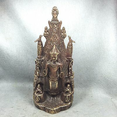 "11"" Phra Ancient Buddha Stand Statue Antique Thai Amulet Talisman decorate home"