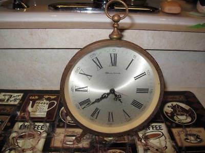 "VINTAGE LARGE 5.6"" BULOVA Desk Alarm CLOCK Manual-Wind BRASS/GLASS Glow-Hands"