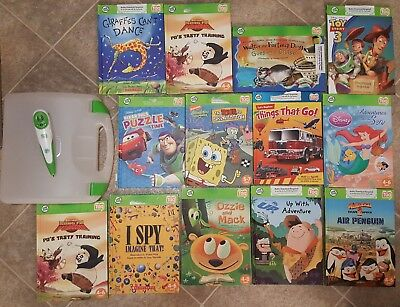 Lot of 13 Leap Frog Tag Reader Reading Books with Tag Pen and Book Case