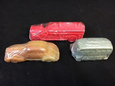 Vintage Advertising Molded Soaps 1940s 50s Car Fire truck Double Decker Bus