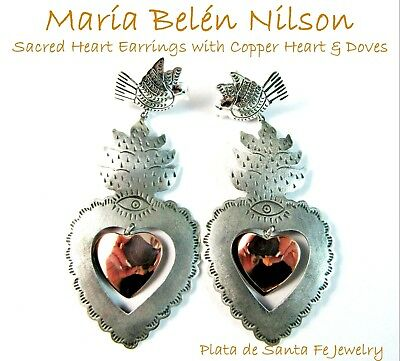 Maria Belen ~Flaming Sacred Heart with Copper Heart~Oxidized Dove 925 Earrings