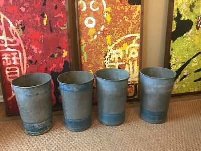 Vintage Galvanized Metal Buckets Lot Of 4 Great Decorative Items