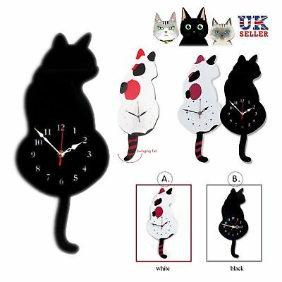 Animal Swinging Tail Pendulum Wall Clocks Cat Shaped Picture Battery Home Decor