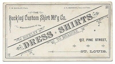 F.W. Buckley Custom Dress Shirts Mfg. Co. Trade Card - Pine St., St. Louis, MI