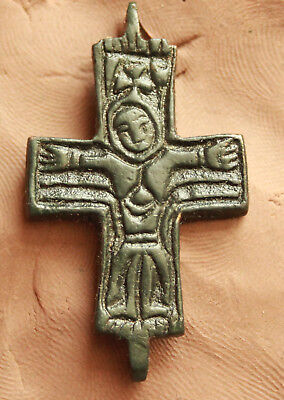 Ancient Byzantine Bronze Cross -Christ  L=41x26mm  7.2gr Quality Nice Patina