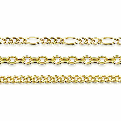 Amberta Genuine Real Yellow Gold Solid Strong Adjustable Necklace Chain Italy