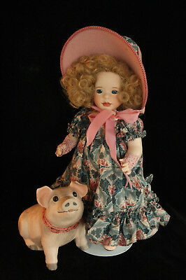 Wendy Lawton To Market, To Market Le Mib Porcelain Doll All Original & Pig