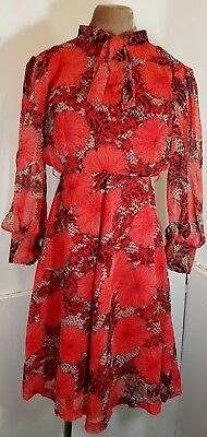 Vintage Womens 1980s Red&Black Floral/Art Print Dress w/ Pussy Bow -SIZE 8-