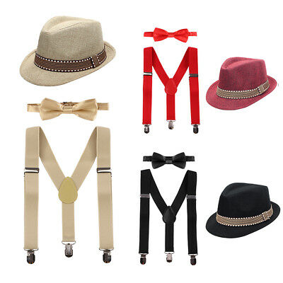 Baby Kid Boy Gentleman Birthday Outfits Fedora Hat Suspenders Bow Tie 3PCS Sets