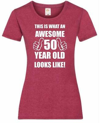 50th 50 Years Old Fiftieth Birthday Present Funny Womens Heather T-Shirt