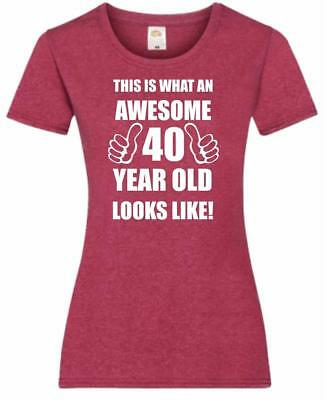40th 40 Years Old Fortieth Birthday Present Funny Womens Heather T-Shirt
