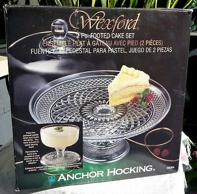 Anchor Hocking Wexford 2 Piece Round Footed Cake Stand With Dome Lid