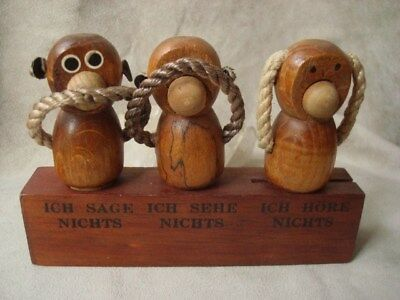 Kaj Bojesen Teak DANISH  KULT FIGUR  - ART -  3 Affen  Bar Set -