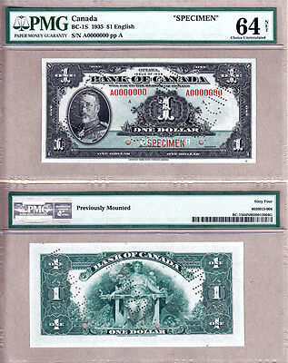BC-1s 1935 $1 Bank of Canada Specimen Note, PMG CH UNC64. Very Rare Note.
