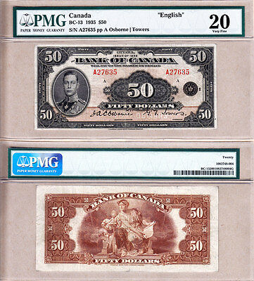 PMG VF20 1935 $50 Bank of Canada Commemorative English Note, BC-13