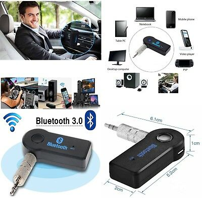3.5mm Stereo AUX Jack Wireless Bluetooth Audio Receiver Music Car Adapter & Mic