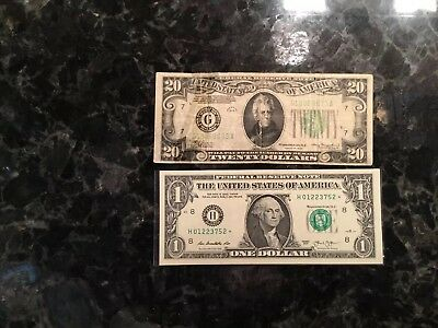 1934 $20 Federal Reserve Note - Chicago + 2013 $1 FRN - STAR NOTE -St. Louis