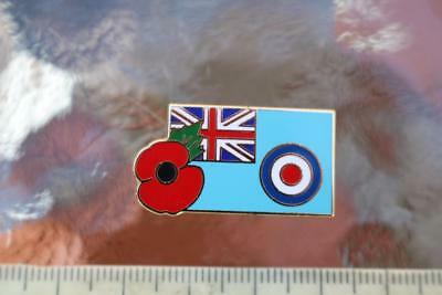 Military Raf Royal Air Force Ensign Flag Enamelled Metal Lapel Badge And Poppy