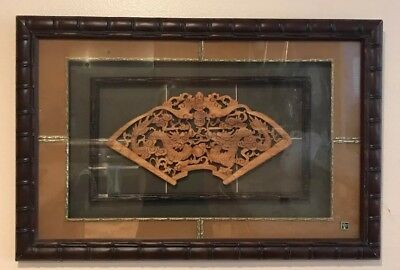 Chinese Hand Carved Dragon Wood Panel Framed