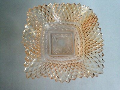 """VTG Glass Candy Bowl Dish 6"""" Sq. Mid Century Modern Home Decor Champagne Color"""