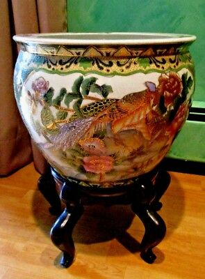 Vintage Chinese Koi Fish Bowl Green Gold Peacock Oriental Asian Planter & Stand