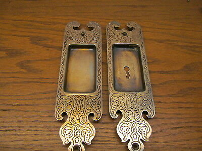 Pair Old Russell Erwin Co...?? Brass Plated Pocket Door Escutcheons..backplate