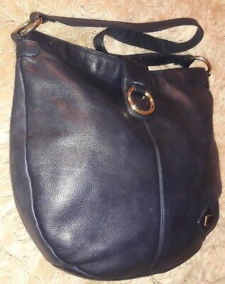 f65dbeffae Vintage Pierre Balmain Large Blue Leather Hobo In Great Pre-Owned Condition