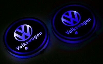 Colorful LED Car Cup Holder Pad Mat for VW Auto Interior Atmosphere Lights