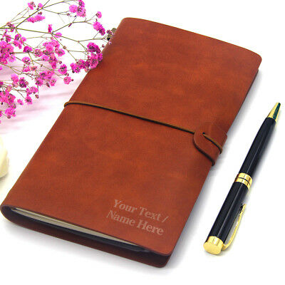 Personalised Notebook Leather Journal Diary Engraved Refillable Valentines Gift