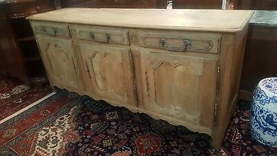 "Antique French Bleached Oak Provincial Sideboard Buffet 87"" L 3 Doors 3 Drawers"