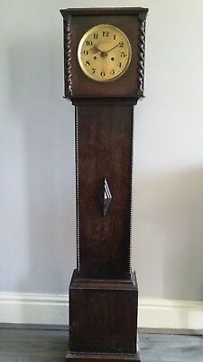 Antique Oak Dwarf Longcase Clock with Replacement Electric Powered Mechanism
