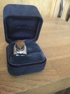 Hallmarked 925 Silver Huge Large Solitaire Unique Tigers Eye Pattern Ring Size:N